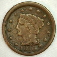 1850 Braided Hair US One Cent Penny Coin 1c Copper Coin VG Very Good Large Cent