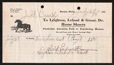 1915 Bangor ME -  Horse Shoers -  Leighton Leland & Grant Dr -  Letter Head Rare