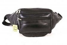New Large Black  Full Extra Strong and SoftLeather Bumbag/Bum Bag Zipped