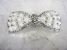 Bow shaped pearl and crystal hair barrette clip bridal clip bridal barrette