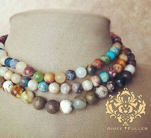 COLORFUL ! Gem Quartz Jade Carnelian Agate Jasper Turquoise Statement Necklace