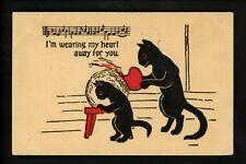 Music Scores postcard Comic cartoon black cat Vintage