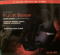 GLOLINK Black Stinger Gaming Headset for Mac, PC, Xbox One, PS4, Nintendo,Mobile