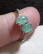 Emerald & Zircon Ring Size 6  10 gemstones  .90tcw  MSRP$444