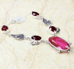 "Pink Topaz Quartz 925 Silver Plated Handmade Gemstone Necklace 20"" Ethnic Gift"