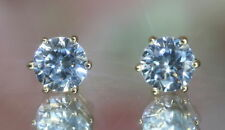Round Cut Real Natural Aqua Topaz Stud Earrings Yellow Gold Fnsh Silver Push Bak