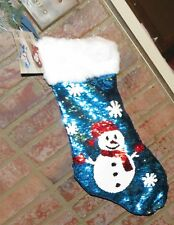 PIER 1 IMPORTS  SNOWMAN REVERSIBLE SEQUINS CHRISTMAS STOCKING  - VERY DIFFERENT