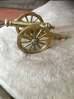 Vintage Brass GR Gilt Cannon - NM Made in England Desk Piece Ornament Artillery