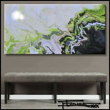 ABSTRACT PAINTING Modern CANVAS WALL ART RESIN Large Signed FRAMED US ELOISExxx