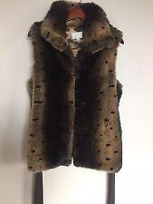ALBERTO MAKALI Sz XL Faux Fur Leopard Print Plush Belted Vest Coat