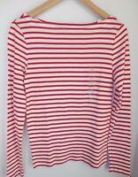NWT GAP Women's Favorite LS T-Shirt Red Striped Boat Neck Sizes XS M Free Ship