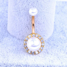 Retro Rhinestone Pearl Navel Belly Ring Button Bar Barbell Body Piercing Jewelry Gold