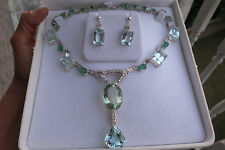 Huge VVS 143 ct aquamarine Emerald diamond 14k white gold necklace choker 15.5in