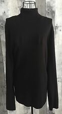 Chicos Black Ribbed Knit Top Sweater Blouse Long Sleeve Turtleneck Size 4/XXL 20