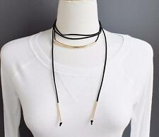 "Black long wrap necklace faux suede super extra 72"" long layering choker skinny"