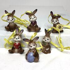 Goebel Porcelain Easter Bunny Rabbit Ornaments Miniature Set of 6 Germany