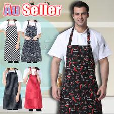 Apron Kitchen Striped Black White Red Bib Washable Pocket Waiter Chef Cooking