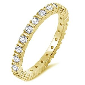 Yellow Gold Simulated Diamond 4 prong Setting Sterling Silver Eternity Ring