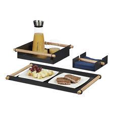 Serviertablett Set, 3-teilig mit 2 Tabletts und 1 Serviettenhalter Servierplatte