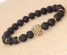 HOT Fashion Men's Black Lava Stone Gold Lion Beaded Charm Bracelet Cheapest