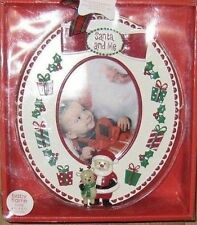 "Nursery Rhyme Christmas""Santa and Me"" Baby/Child Ceramic Oval Frame (fits 4""x6)"