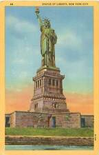 New York Statue of Liberty Unused Color Linen Postcard Genuine Curteich Chicago