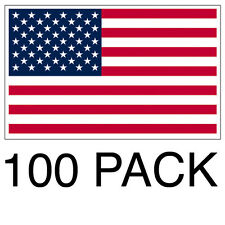 100 PACK of 1x2 Inch USA Flag Decal American Window Car Boat Truck Sticker