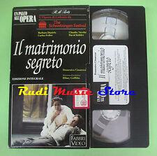 VHS Domenico Cimarosa IL MATRIMONIO SEGRETO Un palco all'opera(CL3) no cd dvd lp