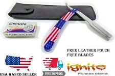 Barber Metal Handle Straight Razor Cut Throat Folding Knife SHAVETTE USA Flag