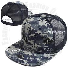 Trucker Hat Mesh Baseball Snapback Cap Adjustable Flat Visor Plain Hip Hop Mens