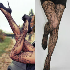 Women's Black Lace Floral Fishnet Hollow Patterned Pantyhose Tights Stocking AU