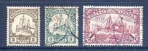 1901 2p mint, 3p used and 1R Yatch good used Dar es Salaam pmk. (2018/10/18#02)