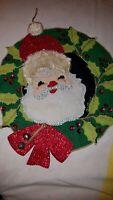 Vintage Christmas RETRO Fabric Felt Wool Sequins Santa face Wreath door~wall