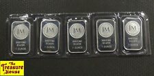 New Listing5 x Jm Bullion .999 Fine Silver 1 Oz Bars/Ingots Sealed Plastic Five Ounces! Nr!