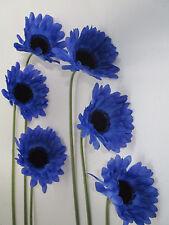Deko 6 Gerbera blau 50 cm Kunstblumen künstliche Seidenblumen Floristik wie echt