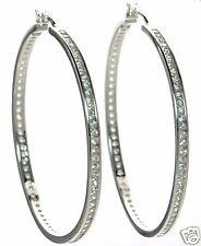 Solid 925 Sterling Silver Clear CZ LARGE Hoop Earrings '