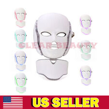 7colors Electric LED Light Facial Neck Mask Skin Care Therapy Skin Rejuvenation