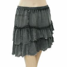 Free People FP One Tie Dye Mini Skirt Tiered High Waisted Gray Boho XS NW 203431