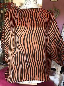 Zara striped top - Orange, black batwing sleeves, Size 8 - 10 Oversized