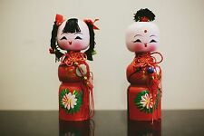 Handmade Chinese Traditional Wooden Fuwa Doll Couple-Wedding Essential Deco Gift