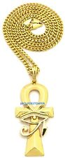 Egyptian Eye Of Horus On Ankh New Pendant With 24 Inch 4mm Cuban Style Chain
