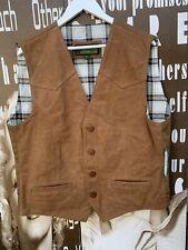 New Men's Hidepark Waist Coat Vest Jacket 100% Suede Leather Tan Large Chest 42