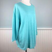 Size Medium M J Jill Women's Blue Knit Linen Blend Sweater Top Shirt Blouse NWT