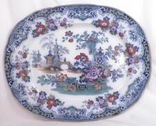 Sobraon Blue Transferware Platter Imari Polychrome Pagoda Temple Flowers Antique