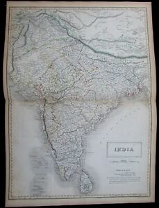 India Tibet Ceylon Sri Lanka Mysore Madras 1844 Black Hughes Hall large map