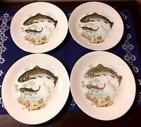 """Set of (4) KAHLA German Porcelain Fish Theme Lunch Plates BROOK TROUT 7.5"""""""