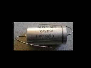 SEL 2,2µf 2200nF 100V MKT24 RM ca. 35mm Kondensator 1 Stck. Anno 1970 NOS