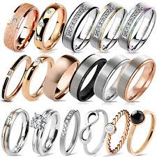 Damen Ring Band Ring Fingerring Verlobungsring Edelstahl Ring RS57
