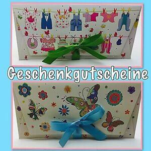 Geschenkgutschein für Kinder Gutschein Karte Geschenk Geburt Baby Schmetterling