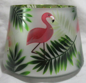 Yankee Candle Jar Shade Tropical PARADISE FLAMINGO frosted vibrant palms greens